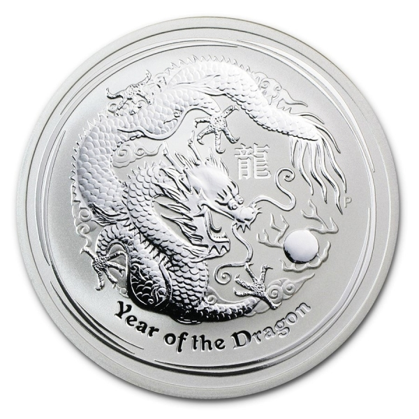 Stříbrná mince Lunar II, 1000g Rok draka 2012/Year of the Dragon