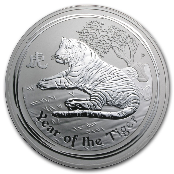 Stříbrná mince Lunar II, 1000g Rok tygra 2010/Year of the Tiger
