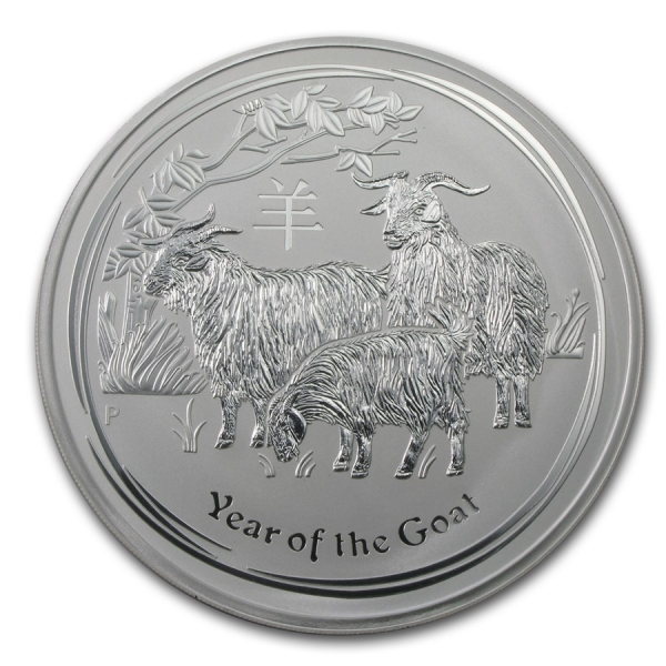 Stříbrná mince Lunar II, 1000g Rok kozy 2015/Year of the Goat